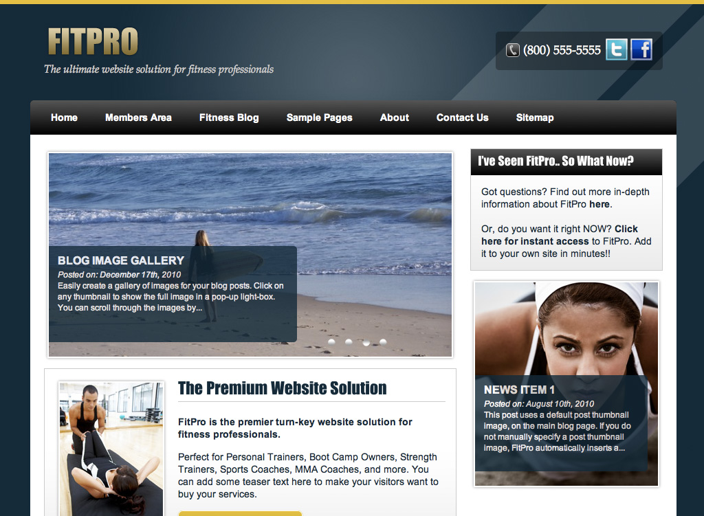 Get the FitPro Fitness WordPress Theme for Personal Trainers, Boot ...