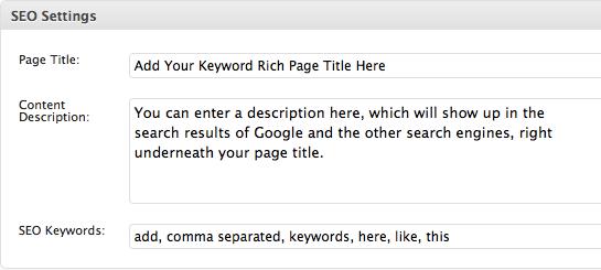Search Engine Optimization Settings