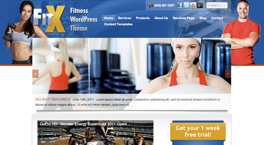 FitX Fitness WordPress Theme