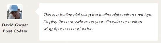 Testimonial custom post type