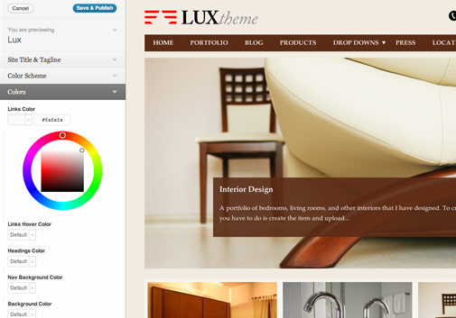 Lux Theme Customizer