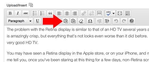 WordPress paste as plain text
